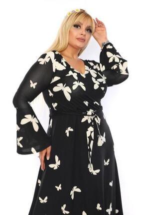 Şirin Butik Kadın Büyük Beden Kelebek Desenli Kruvaze Yaka Volan Kol Elbise 1