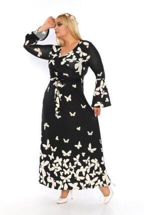 Şirin Butik Kadın Büyük Beden Kelebek Desenli Kruvaze Yaka Volan Kol Elbise 2