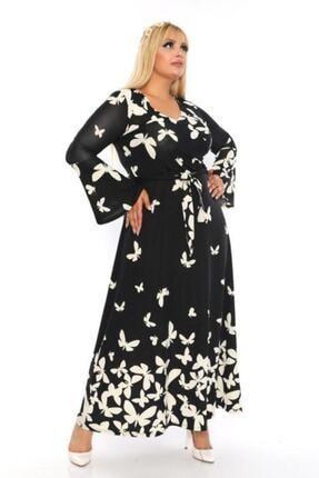 Şirin Butik Kadın Büyük Beden Kelebek Desenli Kruvaze Yaka Volan Kol Elbise 3