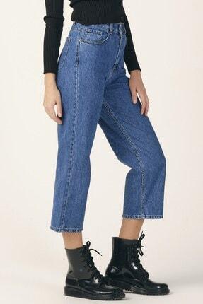 its basic Kadın Mavi Renk Wide Leg Kalıp Yüksek Bel Jean 3