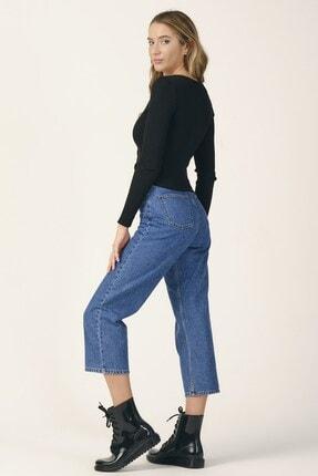 its basic Kadın Mavi Renk Wide Leg Kalıp Yüksek Bel Jean 4