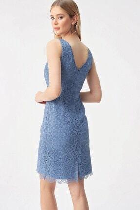 By Saygı Yuvarlak Yaka Dantelli Abiye Elbise Koyu Mavi 3