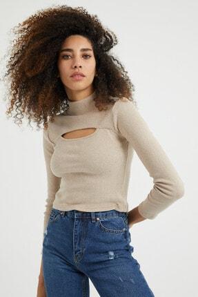 dcollection Kadın Taş Rengi Önü Pencereli Crop Top 0