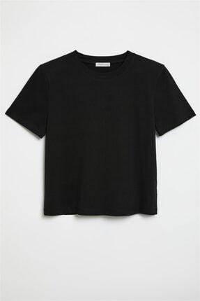 GRIMELANGE Hannah Kadın Siyah Yuvarlak Yakalı Basic T-shirt 0