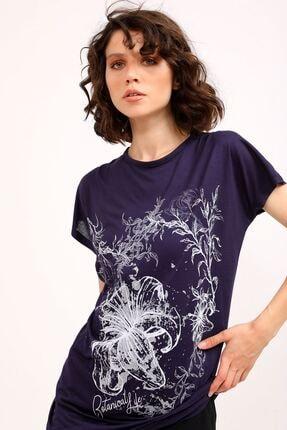 metropol tekstil Krt-066 Desenli Tshirt Lacivert 4