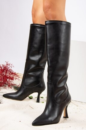 Fox Shoes Siyah Suni Deri Kadın Çizme J572463309 2