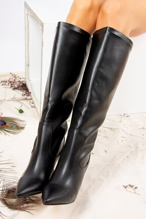 Fox Shoes Siyah Suni Deri Kadın Çizme J572463309 3