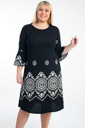 Picture of Ispanyol Kol Karışık Desenli Örme Krep B.b Elbise Siyah