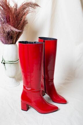 Deripabuc Hakiki Deri Kırmızı Rugan Kadın Deri Çizme Dp02-0404 2