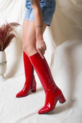 Deripabuc Hakiki Deri Kırmızı Rugan Kadın Deri Çizme Dp02-0404 3
