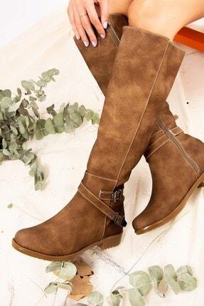 Fox Shoes Vizon Baskı Kadın Çizme E726203409 1
