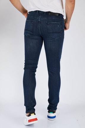 DİFRANSEL Erkek Koyu Lacivert Düz Slim Fit Likralı Dar Paça Kot Pantolon-7 3