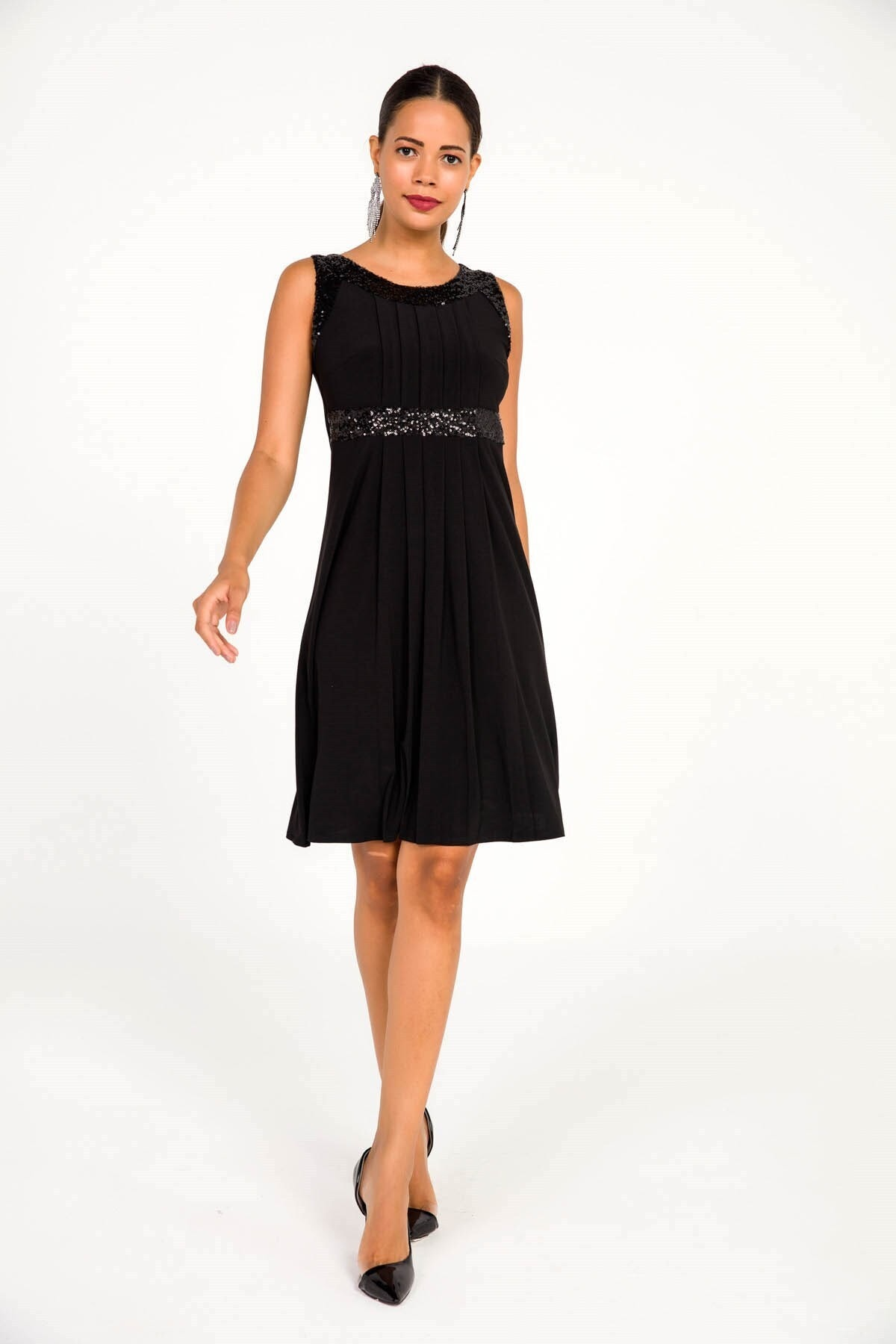 Pul Detaylı Likra Sendy Pileli Likra Elbise Siyah