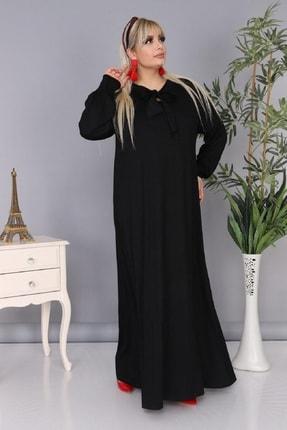Şirin Butik Kadın Büyük Beden Siyah Renk Kravat Yaka Detaylı Viskon Elbise 1
