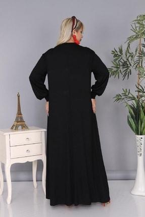 Şirin Butik Kadın Büyük Beden Siyah Renk Kravat Yaka Detaylı Viskon Elbise 3