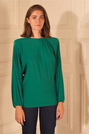 adL Kadın Yeşil Örme Yakası Büzgülü Bluz 0