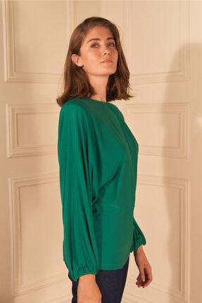 adL Kadın Yeşil Örme Yakası Büzgülü Bluz 1