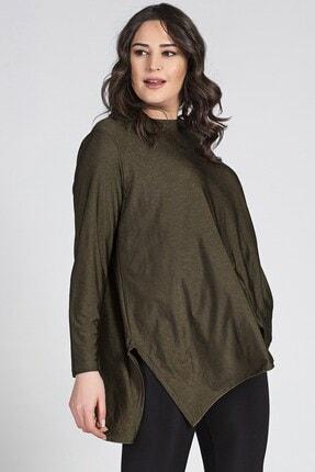 Womenice Büyük Beden Yeşil Yırtmaçlı Uzun Kol Salaş Tunik 1