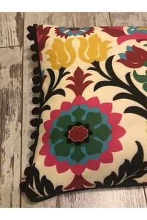 heybelioda Etnik Desen Dijital Baskı Kumaş Siyah Ponpon Şeritli Dekoratif Kırlent / Yastık Kılıfı 2