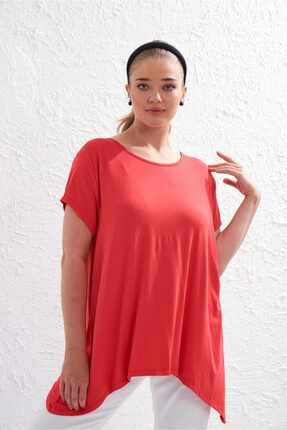 Picture of Bayan Asimetrik Kesim Kısa Kol Tshirt