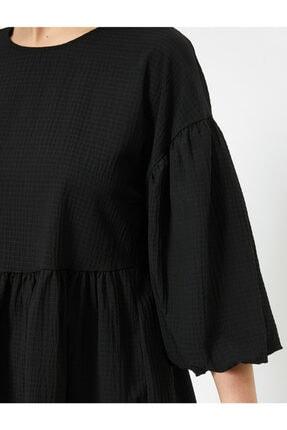 Koton Kadın Siyah Balon Kollu Fırfırlı Bluz 4
