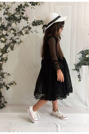 Mixie Şapkalı, Güpürlü, Prenses Model Kız Çoçuk Elbisesi 2