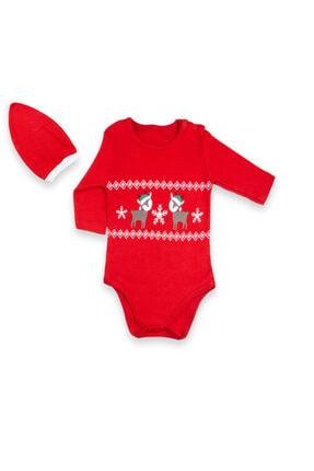 Vipbebe Geyik Baskılı Kırmızı Yılbaşı Şapkalı Bebek Çıçıtlı Body 0