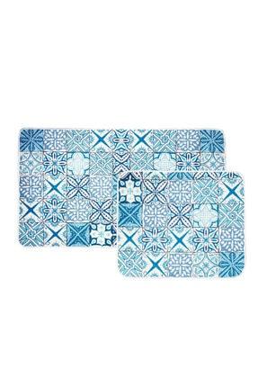 Karaca Home Blue Patch 2 Parça Baskılı Banyo Halısı 1