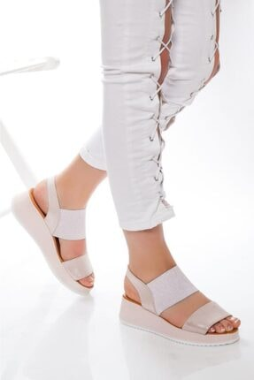 Deripabuc Hakiki Deri Pudra Simli Kadın Deri Sandalet Dp08-5016 1