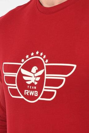 Rwb Bordo Bisiklet Yaka Baskılı Erkek Sweatshirt Bsw-03 1