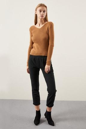 Tena Moda Kadın Bisküvi Ön Arka V Fitilli Triko Kazak 1