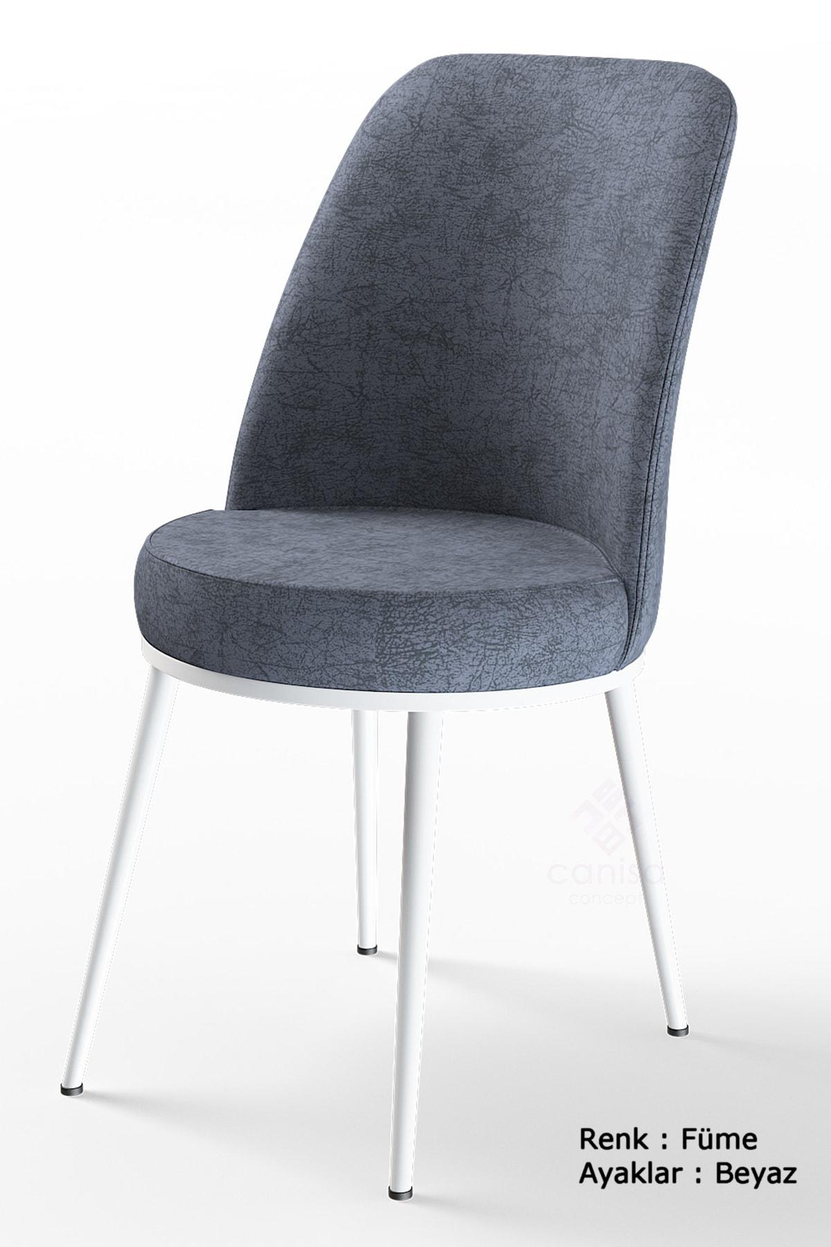 Dexa Serisi Füme Renk Sandalye Mutfak Sandalyesi, Yemek Sandalyesi Ayaklar Beyaz
