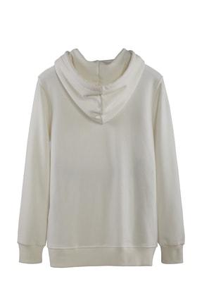 Minimalist Kadın Beyaz Kapşonlu Fermuarlı Basic Sweatshirt 1