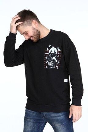 Millionaire Siyah Pandemic Panda Baskılı Oversize Erkek Sweatshirt 1