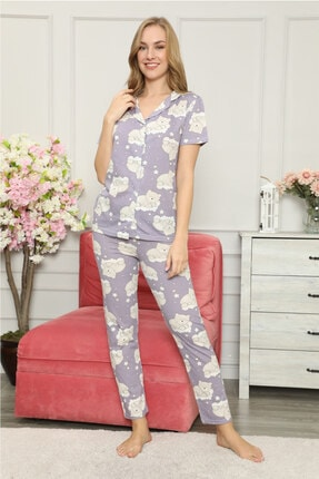modalove Kadın Düğmeli Kısa Kol Pamuklu Pijama Takımı 1