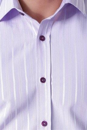 Otto Moda Uzun Kollu Armürlü Çizgili Erkek Gömlek Lila-003 3