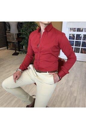 TerziAdemAltun Italyan Stil Slim Fit Dik Yaka Saten Erkek Kırmızı Gömlek T4113 0