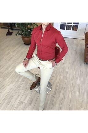 TerziAdemAltun Italyan Stil Slim Fit Dik Yaka Saten Erkek Kırmızı Gömlek T4113 1