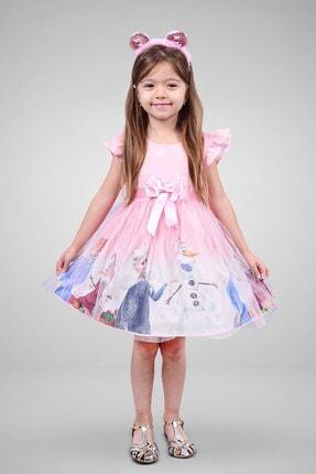 Minik Dolap Kız Çocuk Pembe Tüllü Elsa Elbise 0