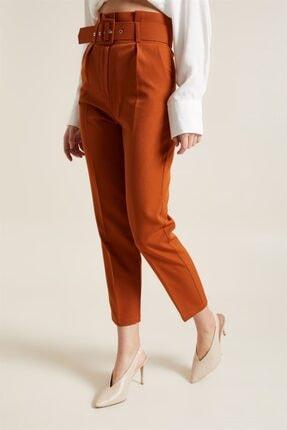Z GİYİM Kadın Taba Kemerli Yüksek Bel Kumaş Pantolon 2