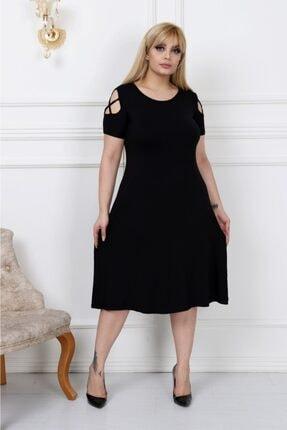 LİKRA Kadın Siyah Büyük Beden Kolları Çapraz Biye Lı Viskon Elbise 1