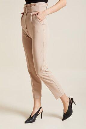 Z GİYİM Kadın Taş Kemerli Yüksek Bel Kumaş Pantolon 2