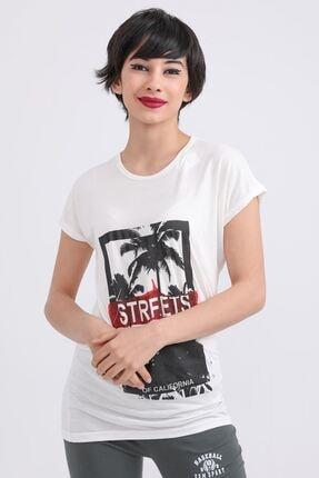 metropol tekstil Krt-001 Steerts Baskılı Bisiklet Yaka T-shirt Krem 0