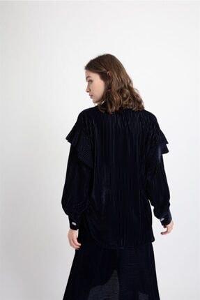 Rue Lacivert Fırfır Detaylı Kadife Gömlek 3