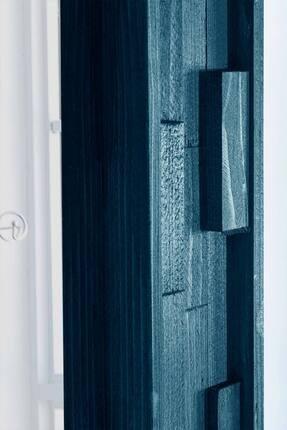 bluecape Doğal Ağaç Jenga Boy Konsol Ayna Ve Mavi Kalorifer Petek Üstü Koridor Demir Ayak Dresuar Takımı 3