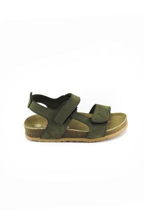 Minipicco Erkek Çocuk Haki Deri Ortopedik Sandalet 0