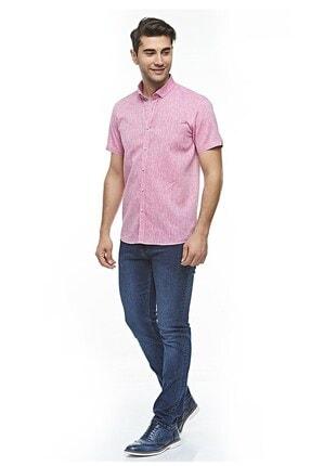 Otto Moda Kısa Kollu Keten Gömlek Pink 4