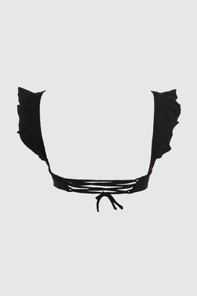 TRENDYOLMİLLA Siyah Fırfırlı Bikini Üstü TBESS21BU0056 4