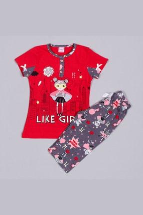 تصویر از 1346 Kırmızı Penye Like Girl Baskılı Kısa Kollu Kaprili Çocuk Pijama Takımı