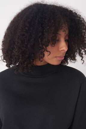 Addax Kadın Siyah Yarım Balıkçı Yaka Kısa Sweat S8625 - I9 - I10 ADX-0000020605 2